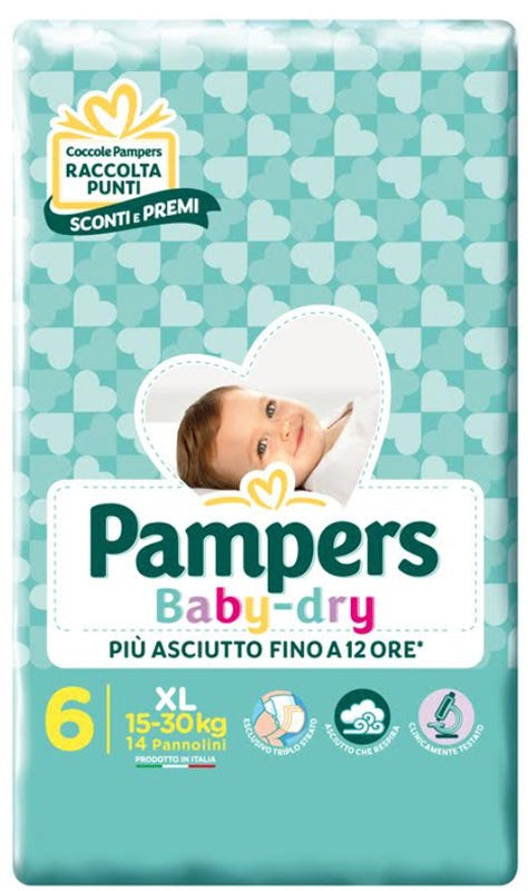 Image of Pampers Baby-Dry Extralarge 15-30 kg 14 Pezzi