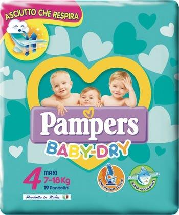Image of Pampers Baby Dry Maxi Pannolino Tripla Azione 19 Pezzi 7-18 Kg Misura 4