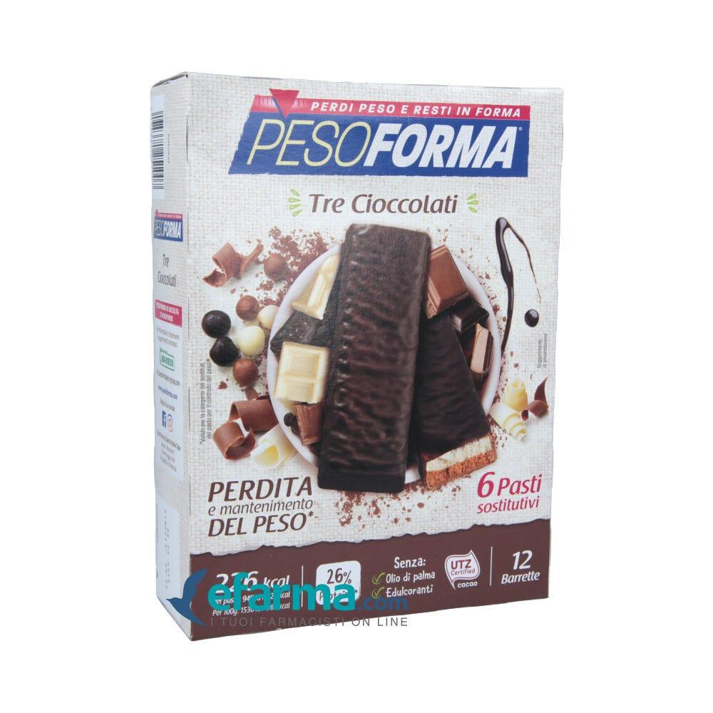 Image of Pesoforma Barrette Tre Cioccolati Pasto Sostitutivo 12 Barrette