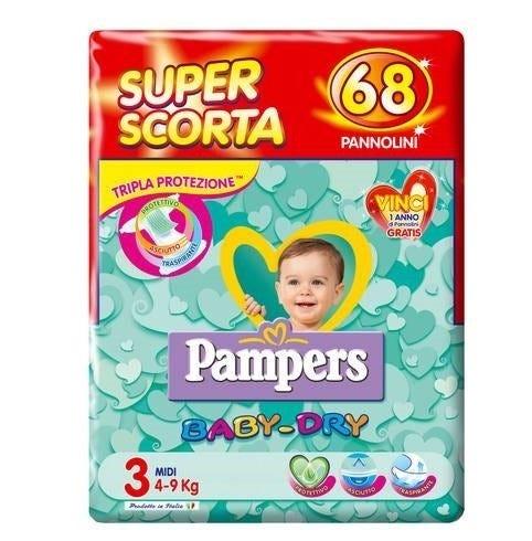 Image of Pampers Baby Dry Superbag Midi Pannolini Tripla Azione 68 Pezzi
